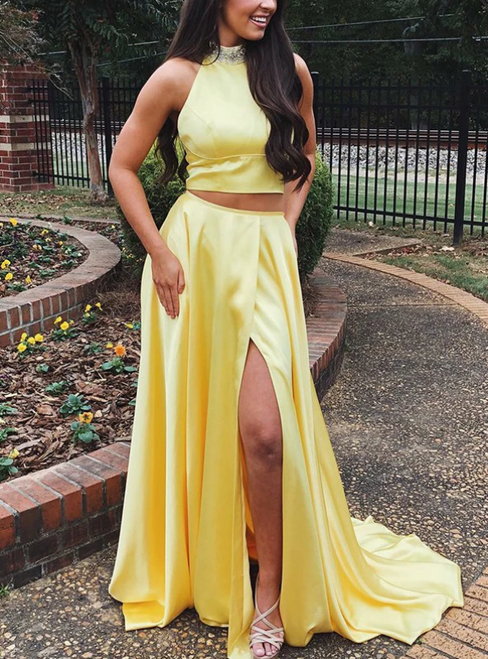 A-Line Yellow Satin Halter Two Piece Beading Prom Dress With Side Split