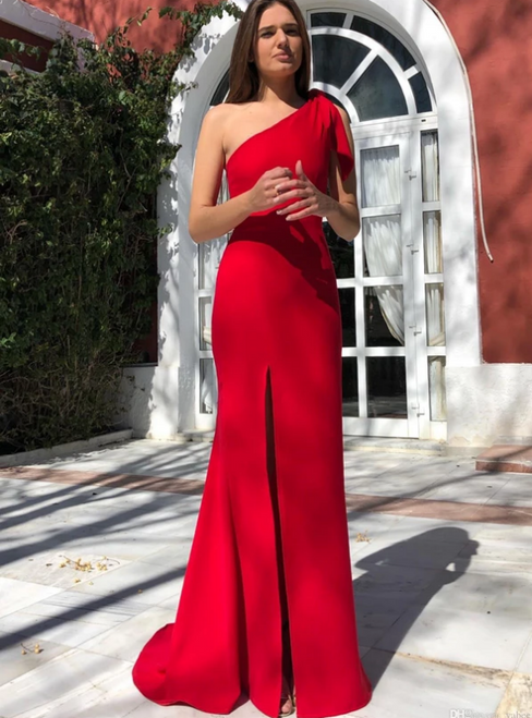 Red Sheath Satin One Shoulder Prom Dress With Side Split