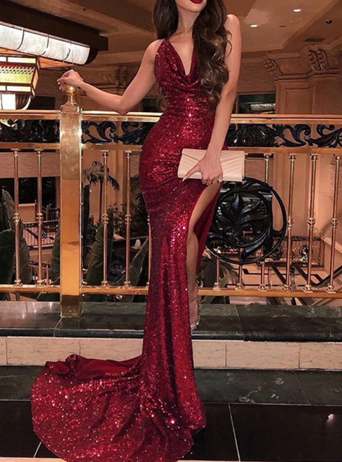 Burgundy Memraid Sequins V-neck Backless Prom Dress With Side Split