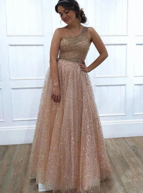 Champagne Tulle Sequins One Shoulder Beading Prom Dress