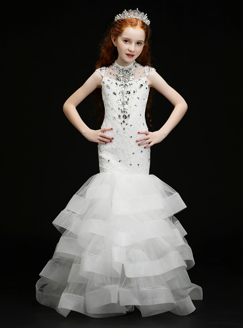 In Stock:Ship in 48 Hours White Mermaid Tulle Lace High Neck Crystal Flower Girl Dress