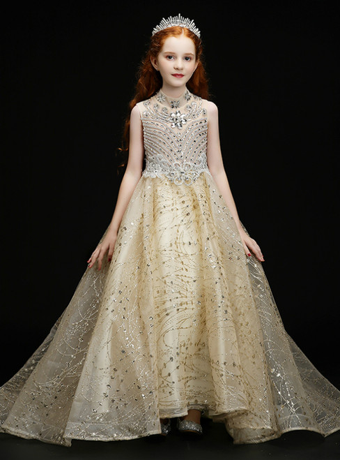 In Stock:Ship in 48 Hours Champagne Tulle Sequins Crystal Flower Girl Dress