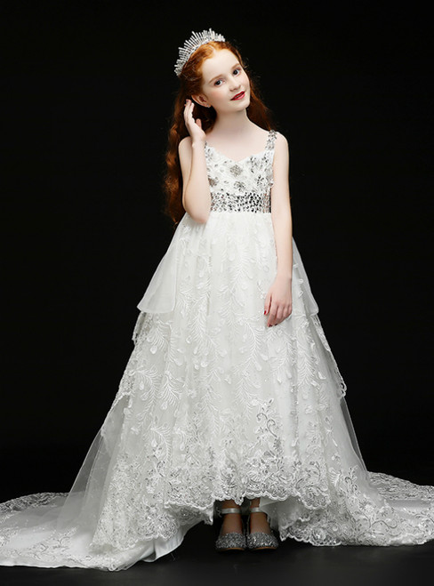 In Stock:Ship in 48 Hours White Tulle Appliques Crystal Flower Girl Dress