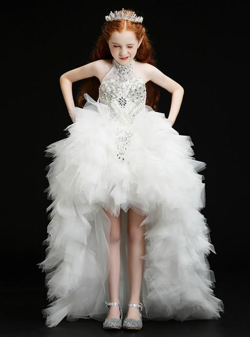 In Stock:Ship in 48 Hours White Hi Lo Halter Tulle Crystal Flower Girl Dress