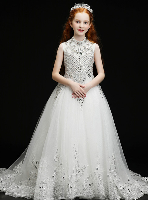 In Stock:Ship in 48 Hours White Tulle Appliques Crystal High Neck Flower Girl Dress