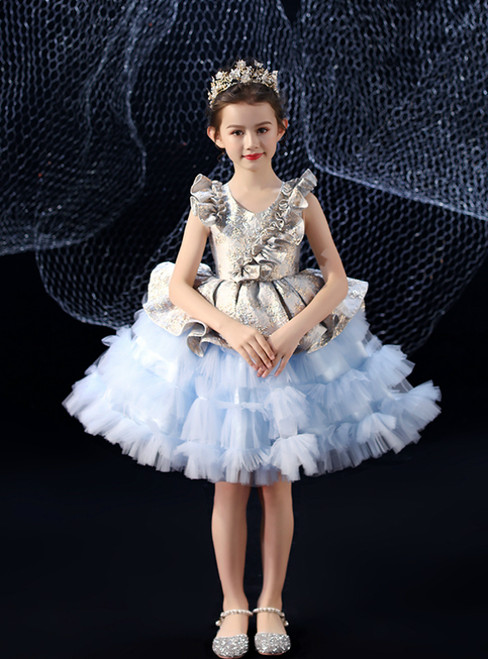In Stock:Ship in 48 Hours Blue Tulle Embroidery Short Flower Girl Dress