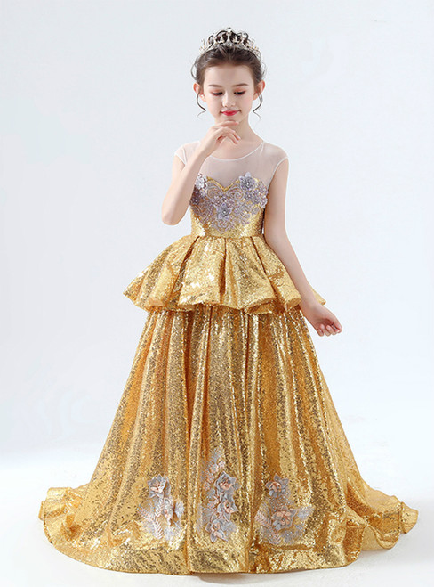 In Stock:Ship in 48 Hours Gold Sequins Appliques Flower Girl Dress