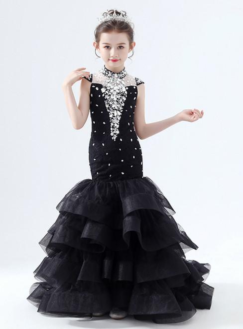 In Stock:Ship in 48 Hours Black Mermaid Tulle Crystal High Neck Flower Girl Dress