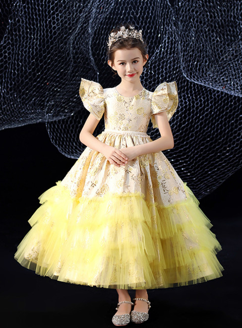 In Stock:Ship in 48 Hours Yellow Ball Gown Tulle Flower Girl Dress