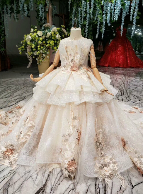 Champagne Ball Gown Tulle Sequins Embroidery Appliques Flower Girl Dress