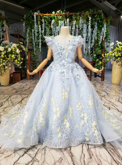 Blue Ball Gown Tulle Embroidery Appliques Beading Flower Girl Dress