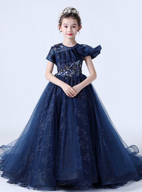 In Stock:Ship in 48 Hours Navy Blue Tulle Sequins Flower Girl Dress
