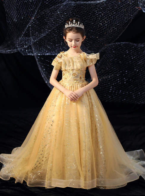 In Stock:Ship in 48 Hours Gold Ball Gown Appliques Flower Girl Dress