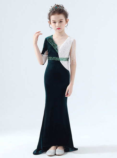 In Stock:Ship in 48 Hours Green Mermaid V-neck Beading Flower Girl Dress