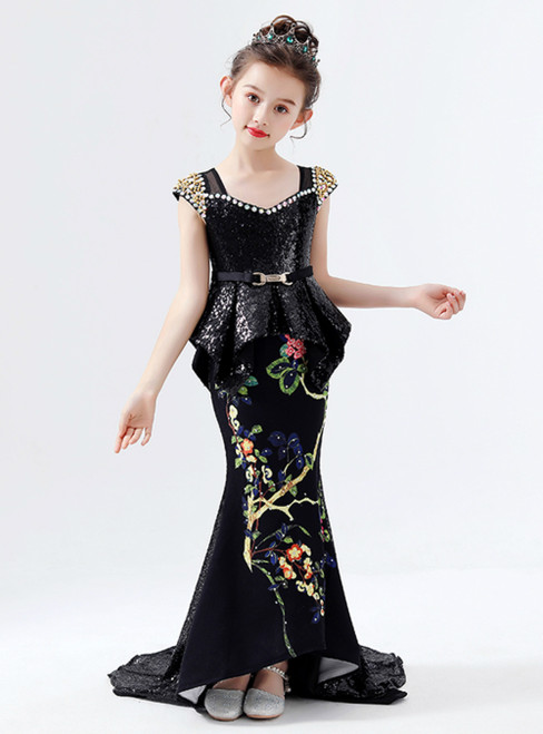 In Stock:Ship in 48 Hours Black Mermaid Sequins Embroidery Flower Girl Dress