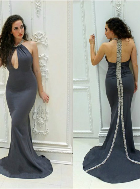 Hot Sale Black Mermaid Cutout Satin Beading Crystals Prom Dresses