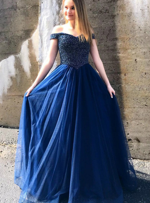 A-Line Navy Blue Tulle Off the Shoulder Beading Prom Dress