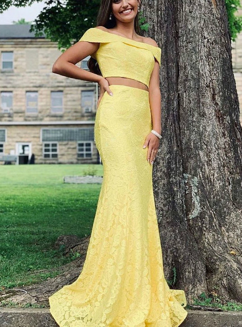 Yellow Mermaid Two Piece Lace Off the Shoulder Prom Dress