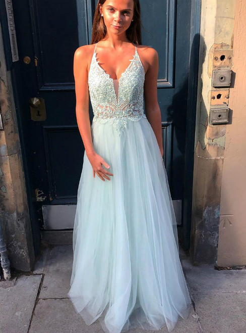 A-Line Blue Tulle Appliques V-neck Backless Prom Dress