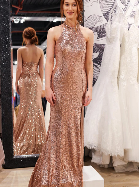 Sexy Rose Gold Mermaid Sequins Halter Beading Prom Dress