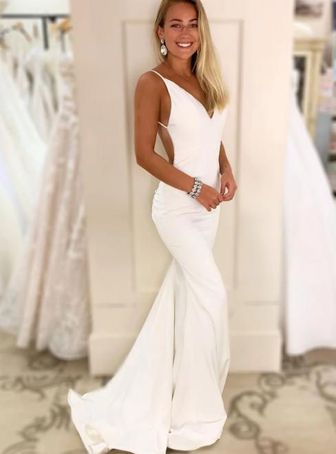 Sexy White Satin Deep V-neck Backless Long Prom Dress