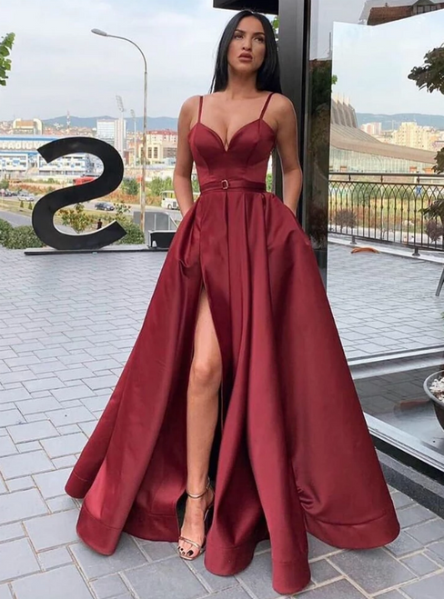 A-Line Burgundy Satin Spaghetti Straps Long Prom Dress WIth Side Split