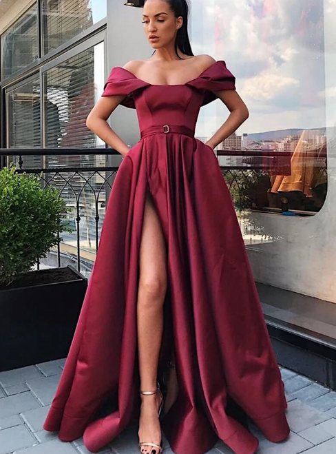 A-Line Burgundy Satin Off the Shoulder Prom Dress With Side Split