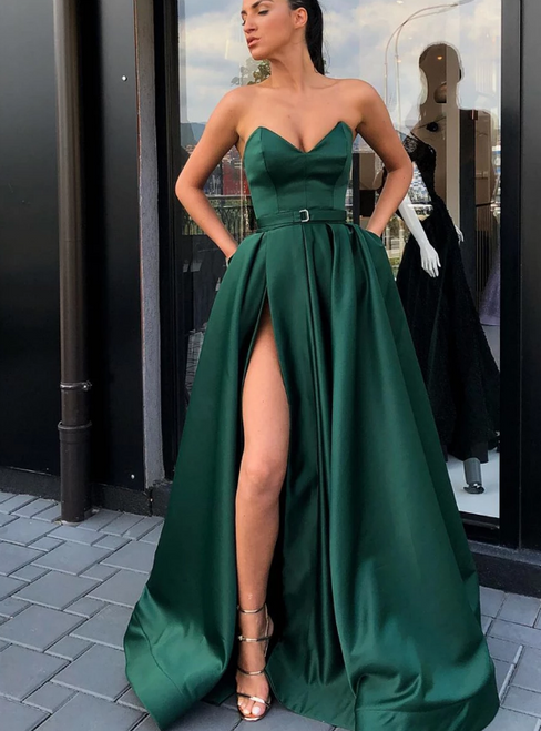 A-Line Green Satin Sweetheart Long Prom Dress With Side Split