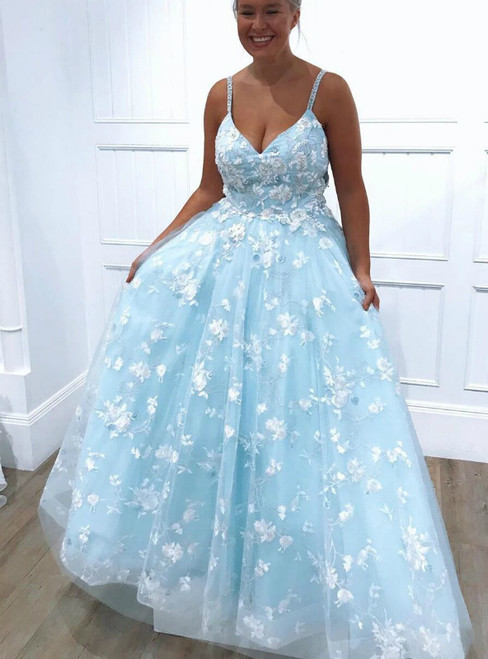 A-Line Blue Tulle Spaghetti Straps Beading Long Prom Dress