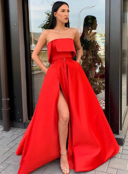 A-Line Red Satin Strapless Pleats Long Prom Dress With Pocket
