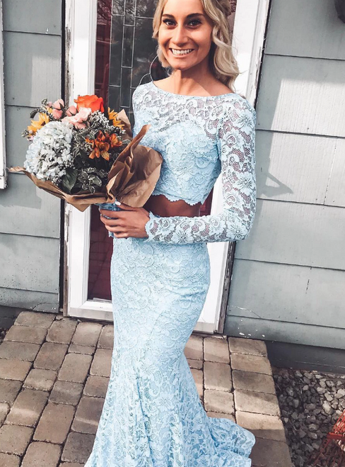 Blue Mermaid Two Piece Lace Bateau Long Sleeve Prom Dress