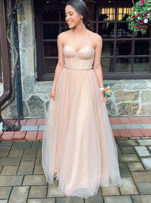 A-Line Champagne Tulle Sweetheart Sequins Long Prom Dress