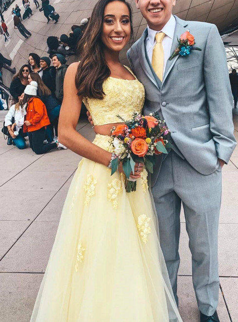 A-Line Two Piece Yellow Tulle Appliques Straps Long Prom Dress