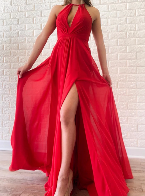 A-Line Red Chiffon Halter Backless Pleats Long Prom Dress