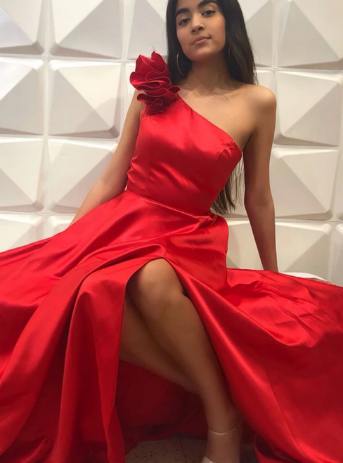 A-Line Red Satin One Shoulder Flwoer Long Prom Dress With Side Split
