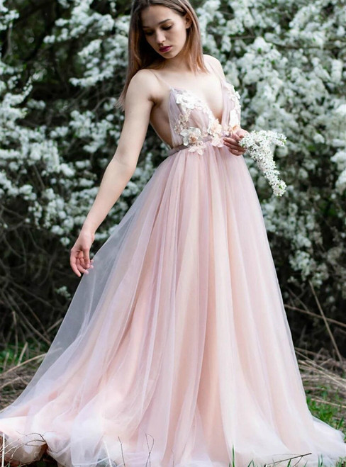 A-Line Pink Tulle Spaghetti Straps Backless Appliques Prom Dress