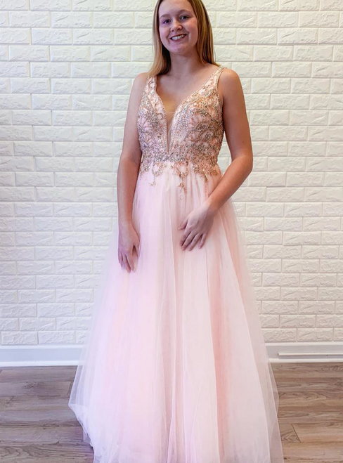 A-Line Pink Tulle V-neck Backless Beading Crystal Prom Dress