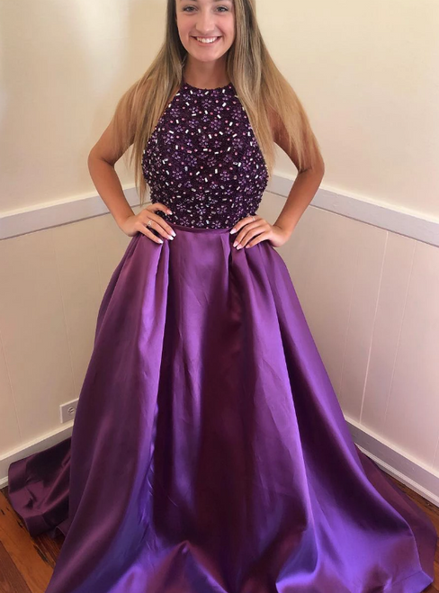 A-Line Purple Satin Halter Beading Sequins Long Prom Dress
