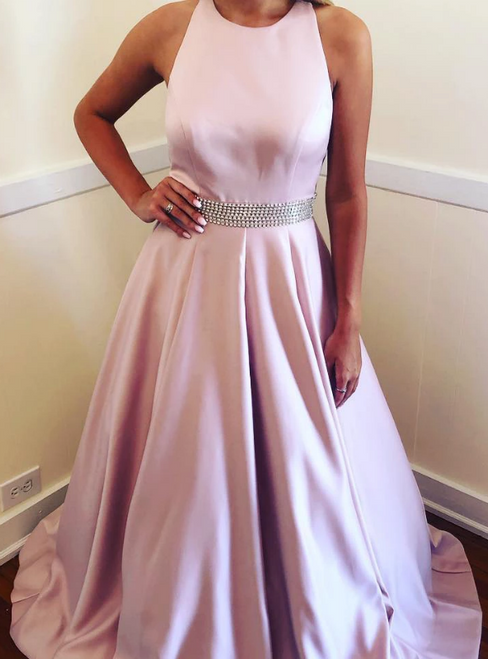 A-Line Pink Satin Halter Beading Long Formal Prom Dress