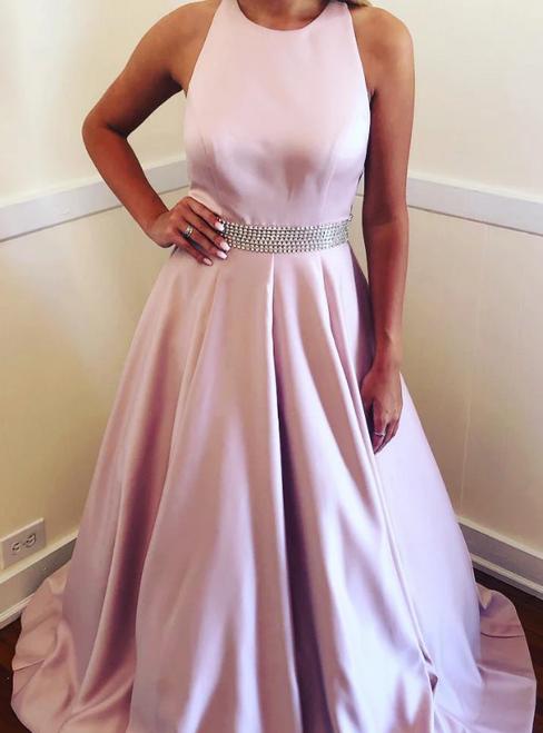 A-Line Pink Satin Halter Beading Long Formal Prom Dress