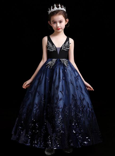 In Stock:Ship in 48 Hours Navy Blue Tulle Sequins V-neck Flower Girl Dress
