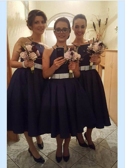 Dark Navy Blue Satin Mid Calf Bridesmaid Dresses with Front Bow 2017 Prom Dresses