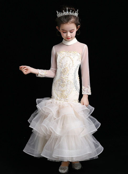 In Stock:Ship in 48 Hours Champagne Tulle Long Sleeve High Neck Appliques Flower Girl Dress
