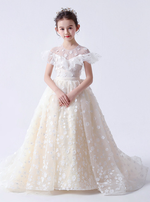 In Stock:Ship in 48 Hours Champagne Tulle 3D Appliques Flower Girl Dress