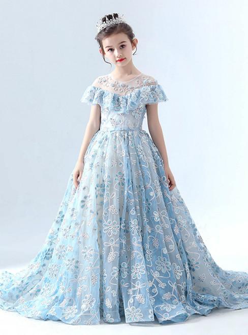 In Stock:Ship in 48 Hours Blue Tulle Sequins Flower Girl Dress