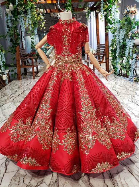 Red Ball Gown High Neck Sequins Cap Sleeve Beading Flower Girl Dress