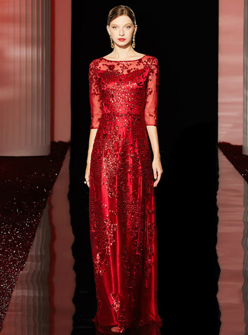 A-Line Red Sequins 3/4 Sleeve Long Mother Of The Bride Dress