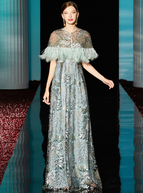 A-Line Blue Embroidery Lace V-neck Long Mother Of The Bride Dress With Shawl
