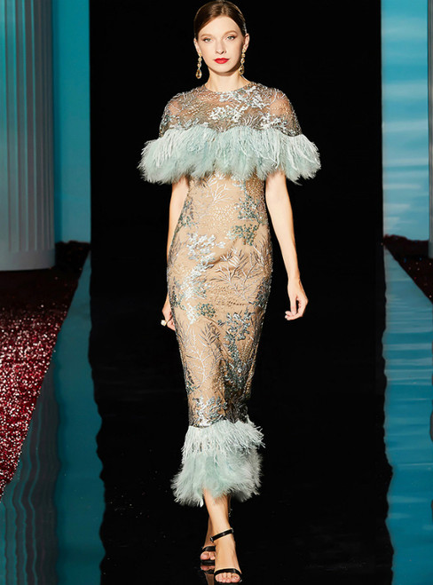 Champagne And Blue Feather Sheath Tea Length Mother Of The Brides Dress  With Feather