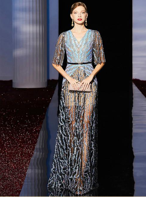 A-Line Blue Sequins V-neck Short Sleeve Mother of the Bride Dress